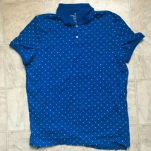 American Eagle Outfitters AE Mens Blue Flex Polka Dot Polo Shirt Size Large - $286,81 MXN