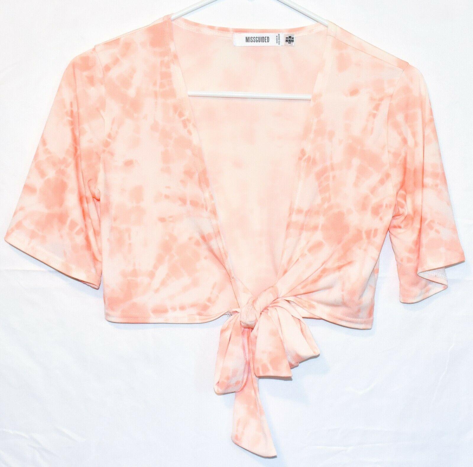 Missguided Women's Peach Pink Tie-Dye Front Tie Crop Top T-Shirt Size 4