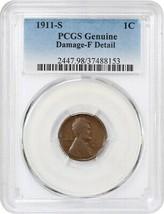 1911-S 1c PCGS Fine Details (Damage) - Lincoln Cent - $33.95