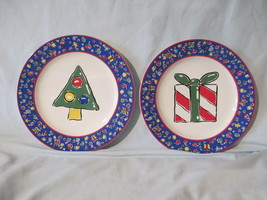 Block Basic Christmas Party Salad Plate set of 2 different - $12.76