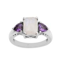 Rainbow Moonstone Octagon with Amethyst 925 silver Women Gift Anniversar... - $37.50