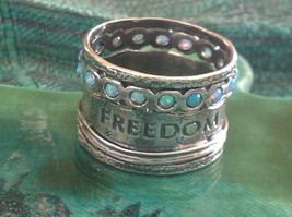 Love Life Joy Freedom Wide Sterling Silver Statement Ring Size Choice 7 or 8