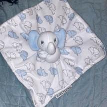 Blankets & Beyond Blue White Elephant Security Lovey Soft Velour Baby Nunu - $21.78