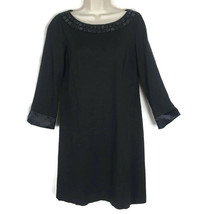 Ann Taylor Black Satin Knit Shift Dress Womens 4 Relaxed Fit 3/4 Sleeve - $14.50