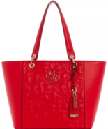 GUESS Womens Kamryn Tote RED Embossed Logo Silver Hardware Bag Charm NWT E* - $69.29