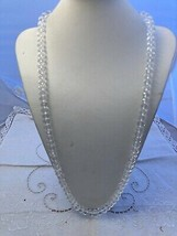 """34"""" Strand of 12 mm Faceted Czech Clear Crystal Knotted White Thread Nec... - $38.61"""