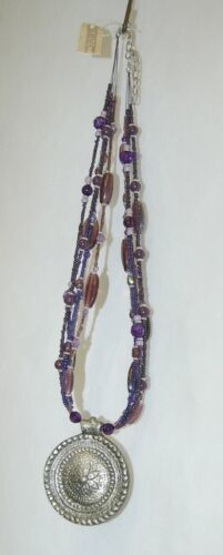 Courtney G 37582BM Purple Beaded Necklace Medallion Pendant