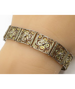 925 Silver - Vintage Floral Lace Square Segment Detail Bracelet - B2823 - $74.01