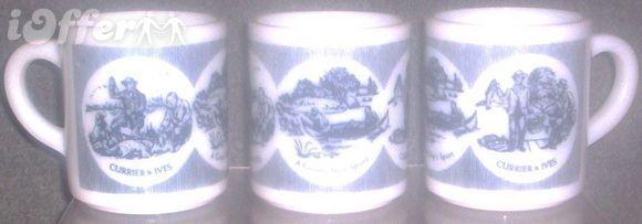HAZEL ATLAS GLASS-- PLATONITE CURRIER AND IVES MUG - $9.95