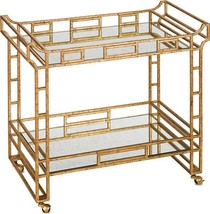 Bar Cart CURREY & COMPANY ODEON Seneca Gold Leaf Light - $2,759.00