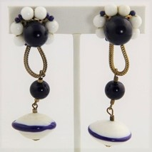 RETRO GROOVY VINTAGE Jewelry SIGNED VOGUE CLIP EARRINGS GLASS BEAD DANGLE  - $15.00