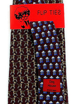 Vicky Davis Dog House Men's 100% Silk Necktie Dogs Animal Red Flip Neck ... - $19.75