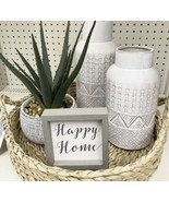 New Textured ceramic Flower White Home Display Table Vase - $29.69