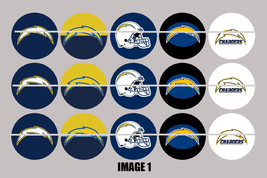 Printed Precut SAN DIEGO CHARGERS inspired 1 inch images for bottlecaps,... - $2.00