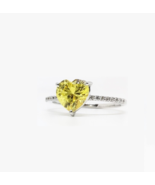 US 4.5 Sterling Silver Yello Heart Solitaire Diamond Simulant Engagement... - $70.99