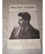 William Horne American Tenor Program Town Hall November 13, 1939 - $18.99