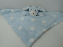 Blankets & Beyond Plush puppy dog blue white polka dots security blanket - $12.86
