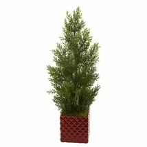 Multicolor 25? Mini Cedar Pine Artificial Tree in Red Planter (Indoor/Outdoor) - $73.02