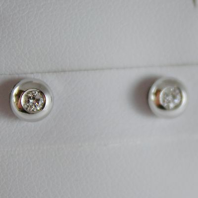 18K WHITE GOLD ROUND EARRINGS WITH DIAMOND DIAMONDS 0.13 CARATS, MADE IN ITALY