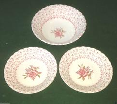 3 Vintage Johnson Bros. ROSE BOUQUET  - Soup & Dessert Bowls - Made in E... - $29.69