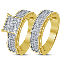 Square Round Cut 2 Piece Engagement Wedding Ring Band Set 14K Yellow Gold Plated - $85.99
