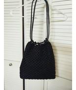 WOMENS LIZ CLAIBORNE BLACK OPEN WEAVE HANDBAG - $17.99