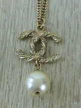 Auth necklace twist rhinestone Pearl GLDA63047B15V - $477.10