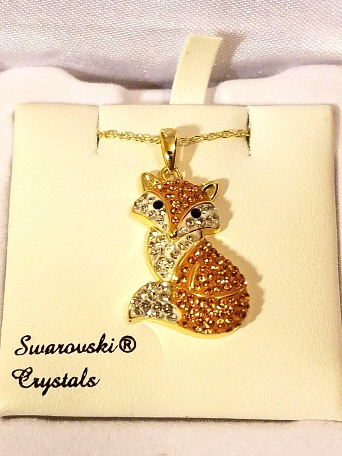 Artistique Swarovski Crystal & 14k Gold - Orange Fox Pendant Necklace NIB