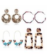 4 Pairs Acrylic Earrings Statement Mottled hoop Resin for Women Girls Da... - $11.62