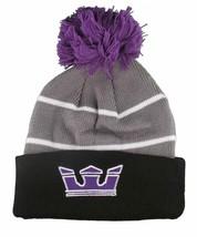 Supra Black Purple Grey Knit Pom Pom Winter Skate Fold over Beanie NWT