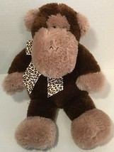 Animal Adventure Monkey plush 2005 brown tan leopard cheetah print ribbon bow  - $19.79