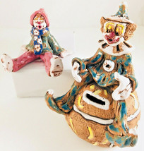 2 Art Pottery Clowns clown bank and sitter signed clay Clowns OOAK Peggy... - $34.16