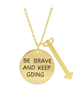 PIATELLA Unisex 18K Gold Plated BE BRAVE AND KEEP GOING pendant with Arr... - $14.99