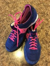 Saucony Original Jazz Fabric w/ Leather Trim Running Shoes Blue Pink Size 9 - $35.06