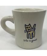 Life is Good Dog With Newspaper Coffee Mug Cup 10 Oz - $14.54