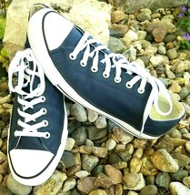 Converse Chuck Taylor All Star Gray Leather Sneakers Navy Blue Mens 12 Womens 14 - $46.01