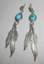 Sterling Turquoise Feather Earrings Pierced Dangle Southwestern Jewelry - $38.00