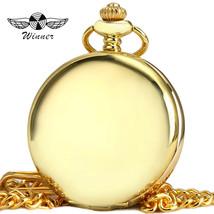 WINNER Top Brand Luxury Pocket Watch Men Women Quartz Clock Golden Stain... - $28.60