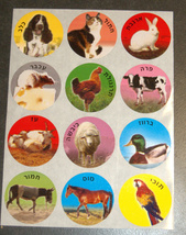 Animal Images Hebrew Names 120 Stickers Children Teaching Aid Israel