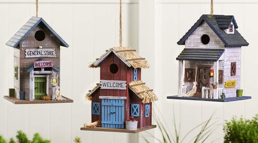Swell Hanging Rustic Design Birdhouse Painted Pine Plywood 3 Designs Interior Design Ideas Tzicisoteloinfo