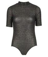 Momo&Ayat Fashions Ladies Metallic Ribbed Short sleeve bodysuit US Size ... - $15.71