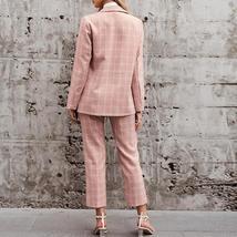 Women's Business Attire Pink Plaid Double Breasted Blazer Paint Suit image 3