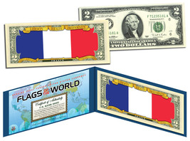 FRANCE - Flags of the World Genuine Legal Tender U.S. $2 Bill Currency - $13.81