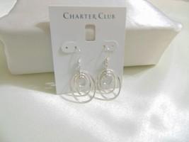 """Charter Club 1-3/4"""" Silver Tone Oval Dangle Drop Earrings L748 $24 - $9.59"""