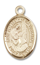 14K Gold St. Elizabeth of the Visitation Medal 1/2 x 1/4 inch - $224.13