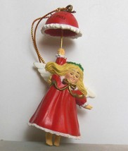 Vintage Baby's First Christmas Ornament Angel with Red Coat and Umbrella... - $12.00