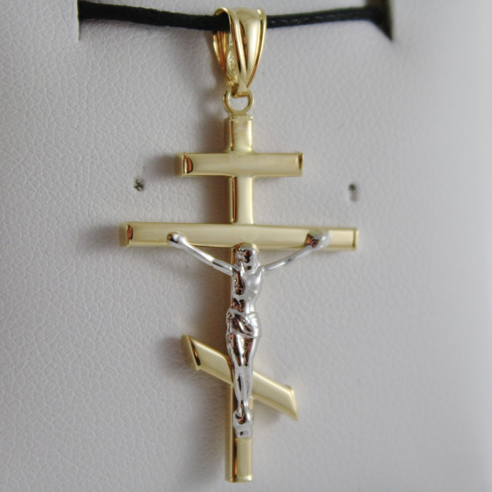 18K YELLOW WHITE GOLD CROSS WITH JESUS RUSSIAN ORTHODOX CROSS MADE IN ITALY