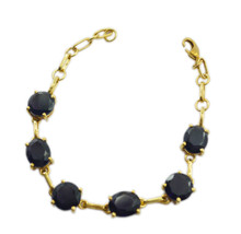 fascinating Amethyst CZ Gold Plated Purple Bracelet genuine handmade US gift - $23.50