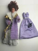 Vintage Barbie 2 Dresses Shoes Coat 1965 Mink Coat  Purple Doll Dress - $19.80