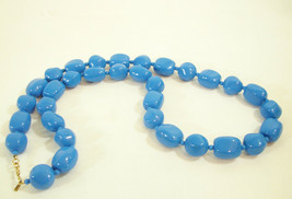 Monet Blue Bright Royal Big Beads Strand String Necklace Vintage Estate - $14.80